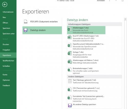 Dateimenü - Exportieren