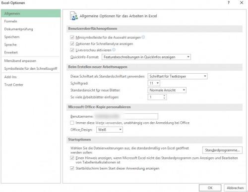 Dateimenü-Optionen