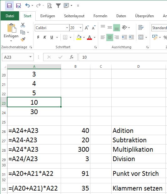 Excel Formeln eingeben Zellbezug