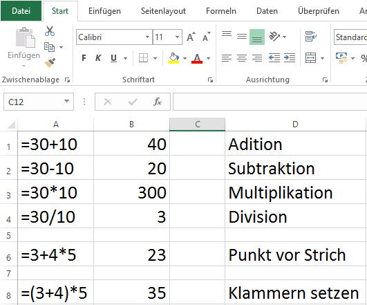 Excel Formeln Grundrechenarten